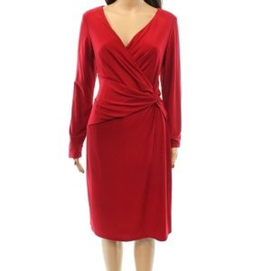 Lauren Ralph Lauren Red Faux Wrap Dress Size 8